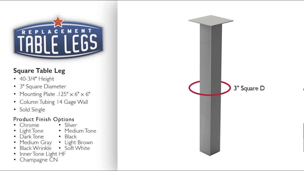 Square metal table legs replacementtablelegs youtube square metal table legs replacementtablelegs watchthetrailerfo