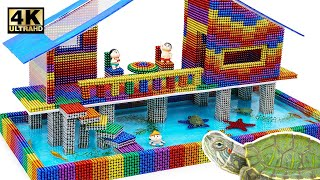 DIY - How To Build House On Stilts For Turtle From Magnetic Balls (Satisfying) | Magnet World Series