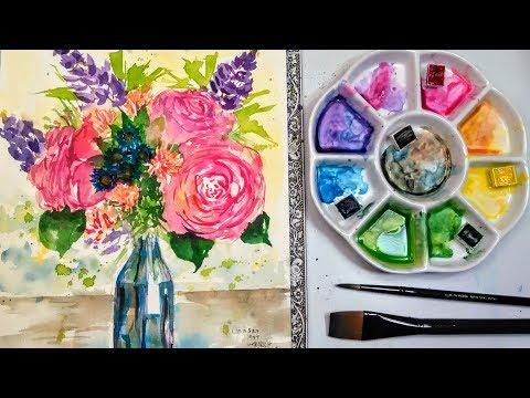 Live: Lose Flower Bouquet in Watercolor 12:30pm ET // Beginner friendly!