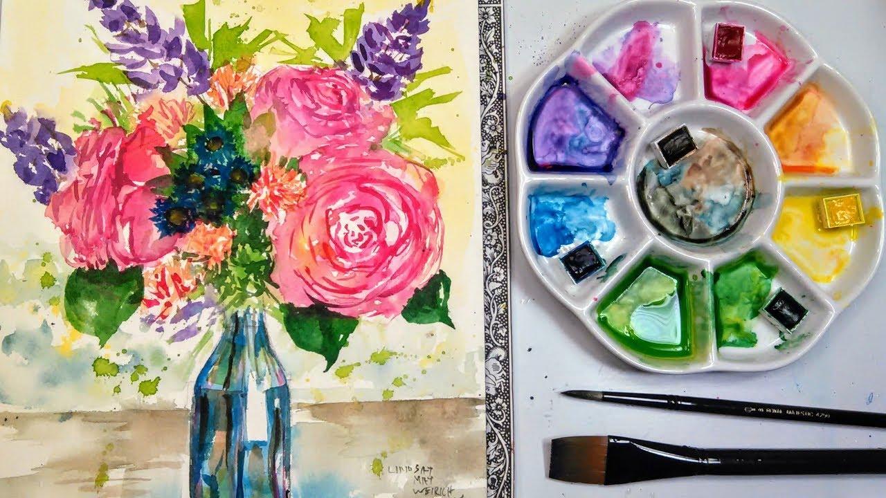 Live: Loose Flower Bouquet in Watercolor 12:30pm ET // Beginner ...