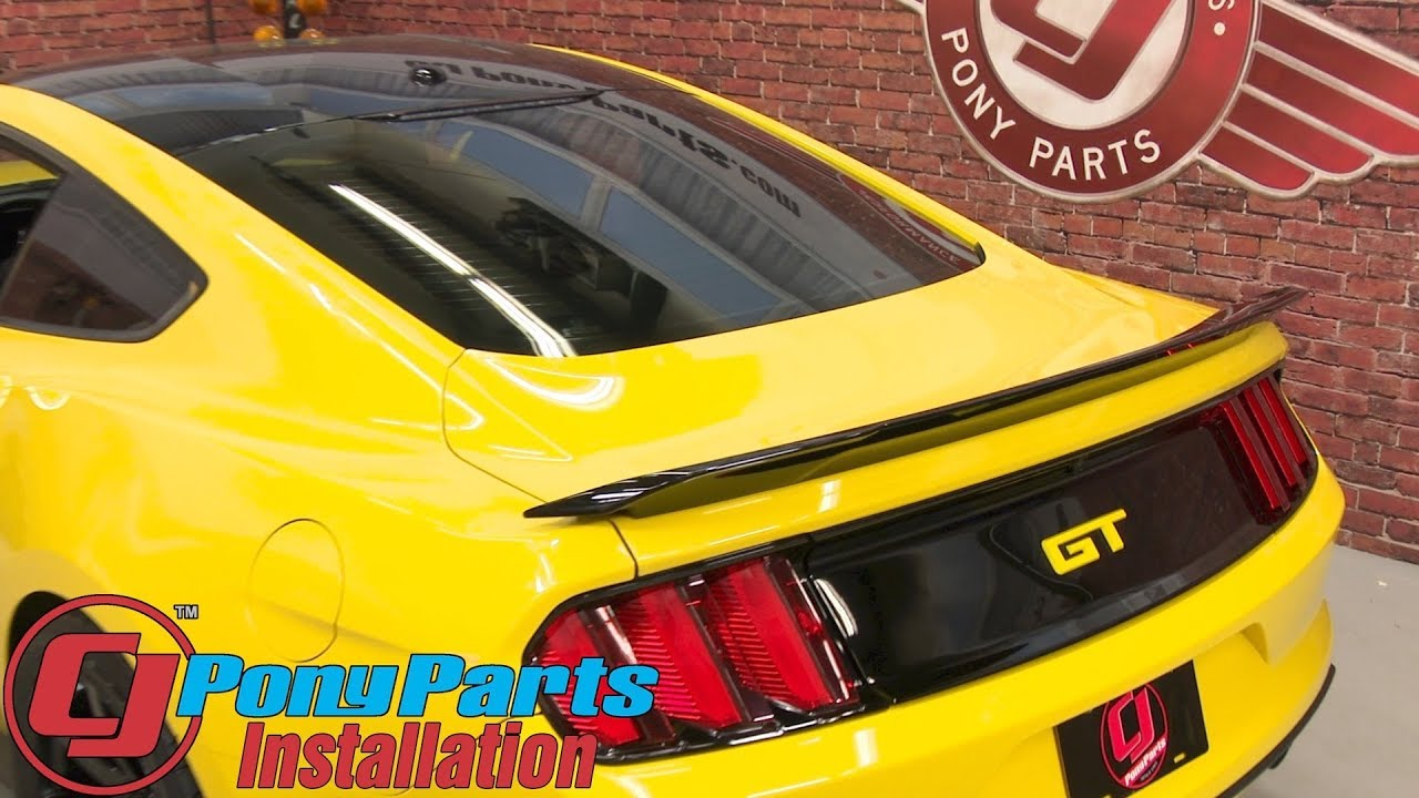 2015-2019 Mustang Fastback Ford Rear Spoiler GT350 Track Pack Black Painted Installation - YouTube