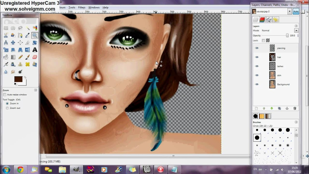 Gimp 2.6 Tutorials Repaint Tutorial Imvu Hair Youtube