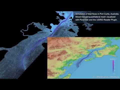Tidal flows in Port Curtis, Australia (UGRID NetCDF data format)