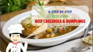 Authentic English BEEF CASSEROLE AND DUMPLINGS