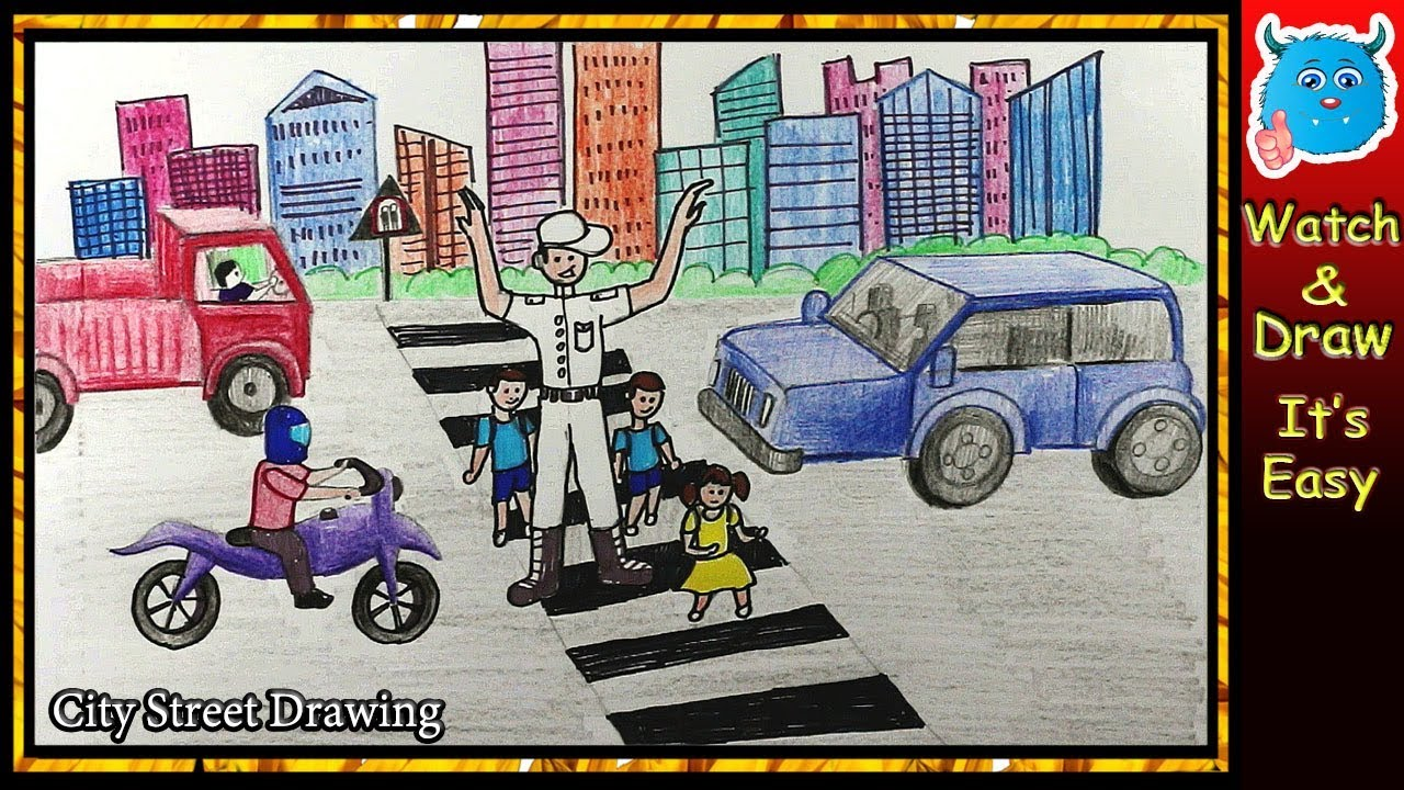 How To Draw City Road Safety Drawing For Kids In Pencil Youtube