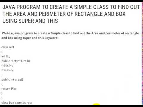 Java program to create a simple class to find out the area and java program to create a simple class to find out the area and perimeter of rectangle and box using ccuart Image collections
