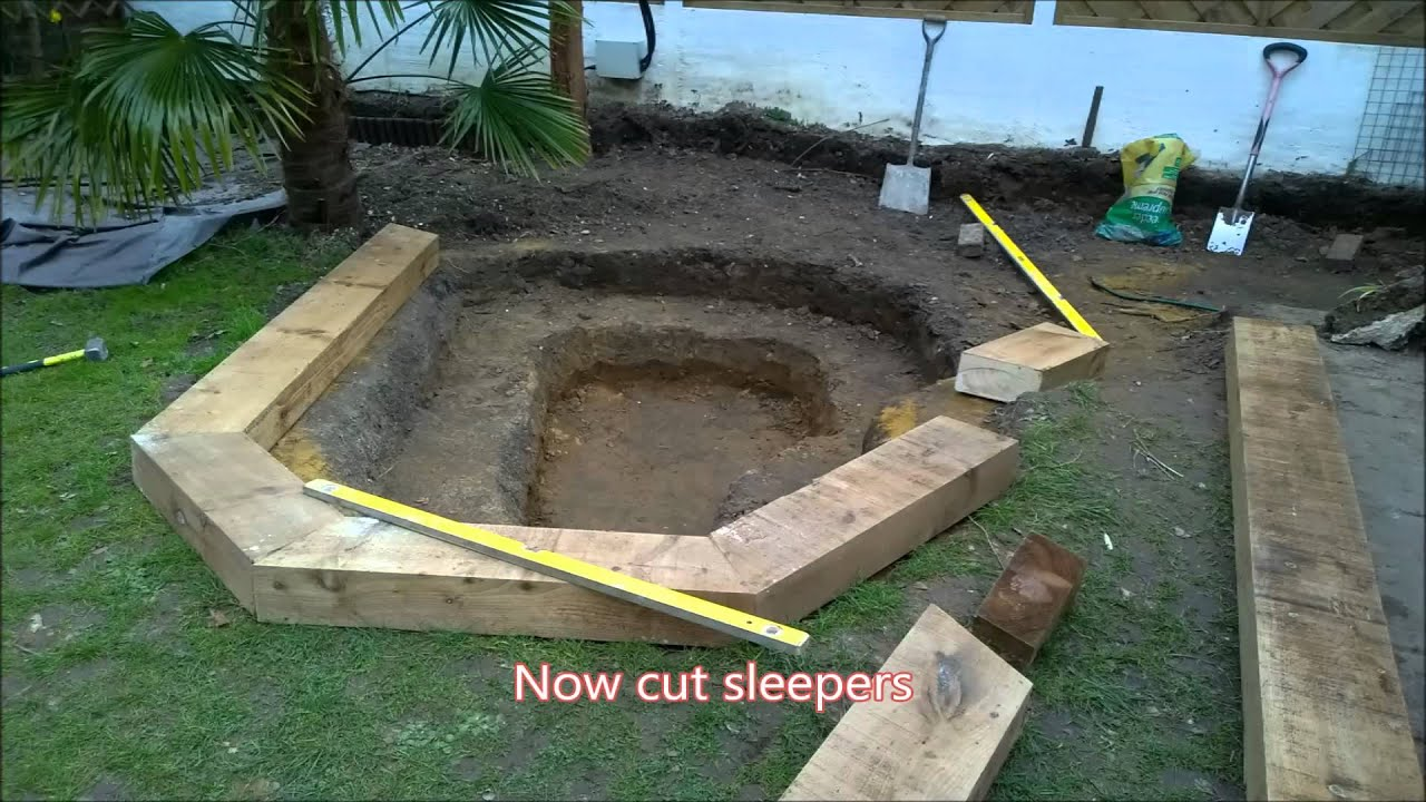 How to do a Pond makeover with sleepers and waterfall ...