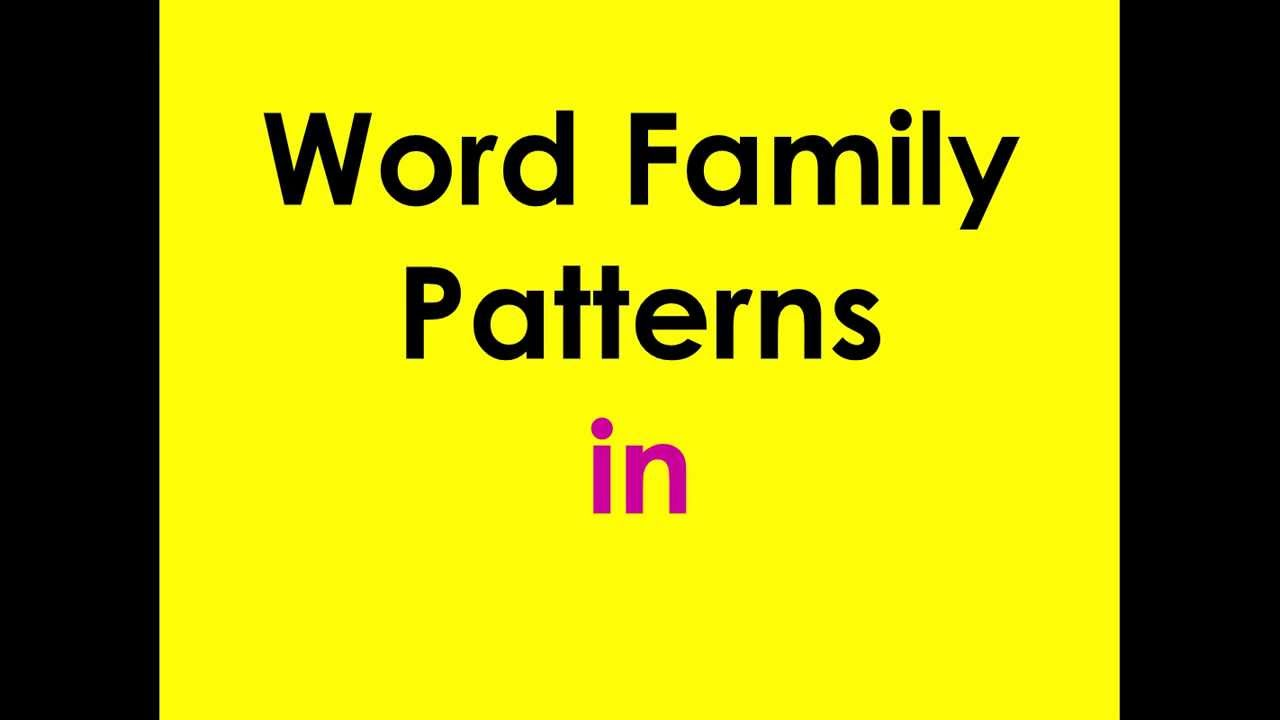 word family patterns - in
