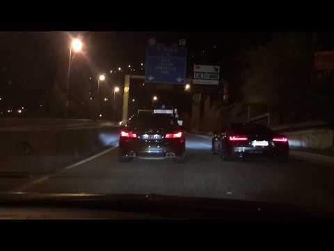 Audi R8 V10 Plus Vs. BMW M5 F10 Competition Tunnel Run Race