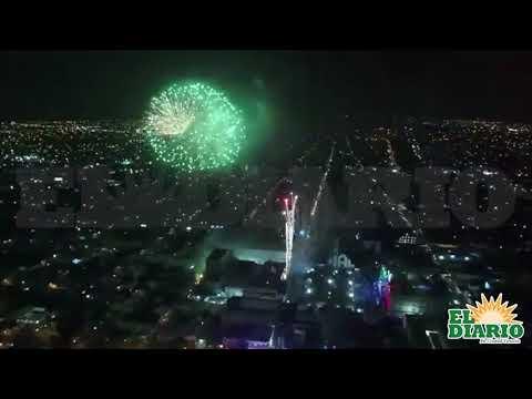 Juegos pirotécnicos tras el Grito de Independencia en Ciudad Victoria
