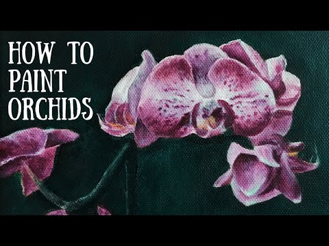 Painting an Orchid in Acrylics | Art Tutorial | Jen Garcia Art thumbnail