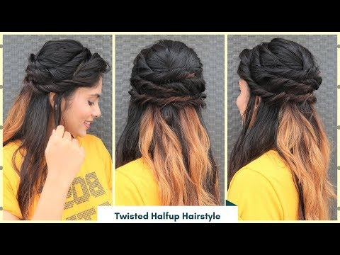 Twisted Halfup Hairstyle For Soft Curly Hair/Open Hair Hairstyle //Party/Function Hairstyle thumbnail
