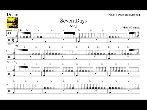 [PDT] Sting - Seven Days Drum Transcription Free Sheet (Updated Sheet In Description)