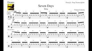 [PDT] Sting - Seven Days Drum Transcription Free Sheet (Updated Sheet In Description)