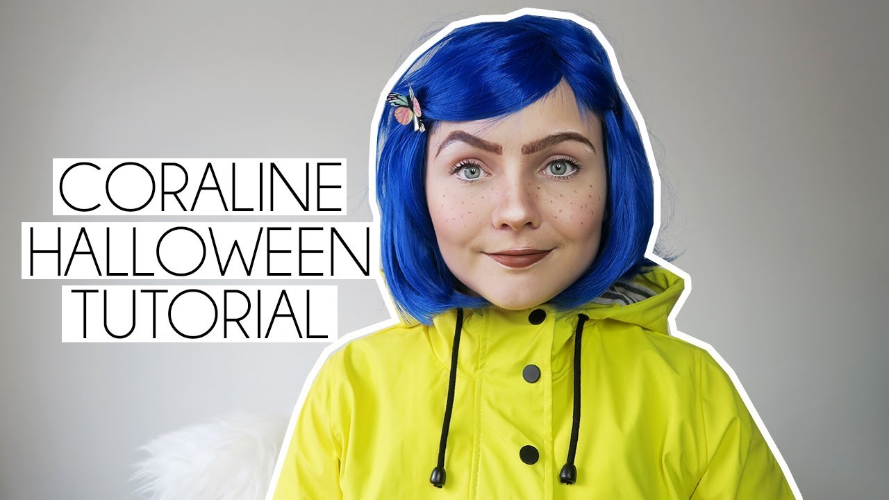 Easy Coraline Halloween Makeup Costume Tutorial Youtube