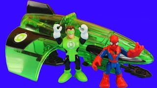 imaginext green lantern plane with spider man green goblin marvel dc comics toys stories