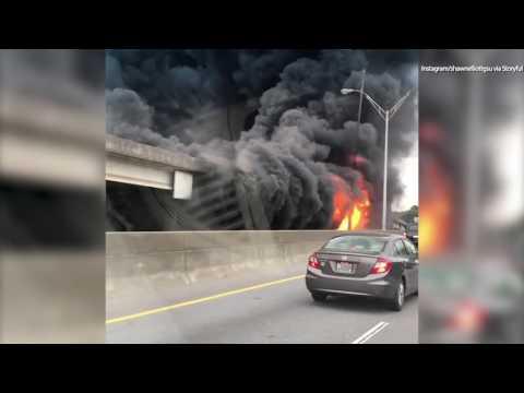 WATCH: Stunning video of I-85 bridge fire