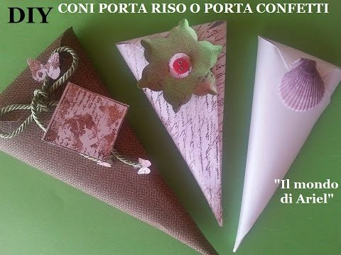 DIY coni PORTA RISO o PORTA CONFETTI,coppettini fai da te,scrapbooking,wedding ideas