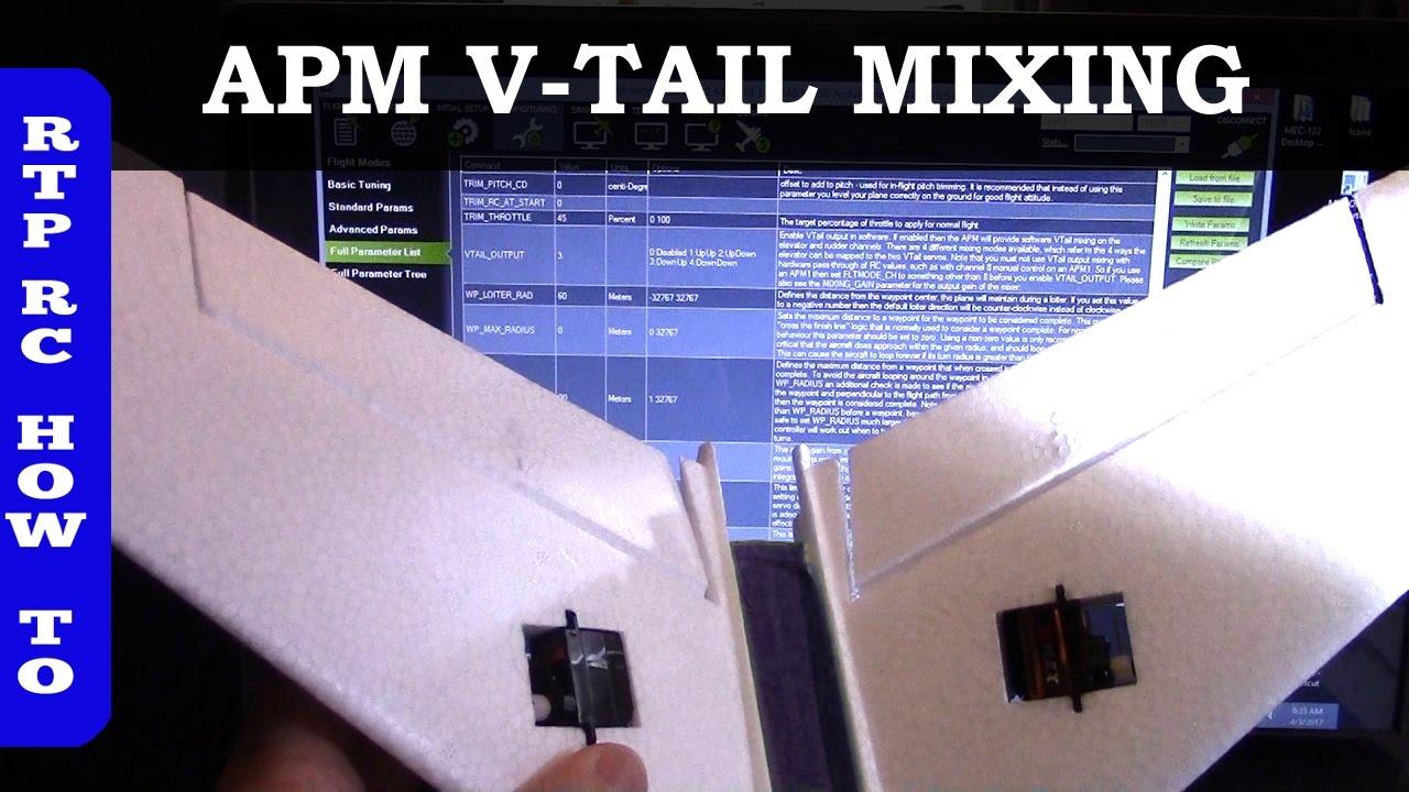 Ardupilot V-Tail Mixing Setup in APM Mission Planner, XUAV Mini Talon VTail  Plane Part 8