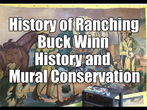 Mural Conservation Restoration of History of Ranching in Texas by Buck Winn, painting restoration