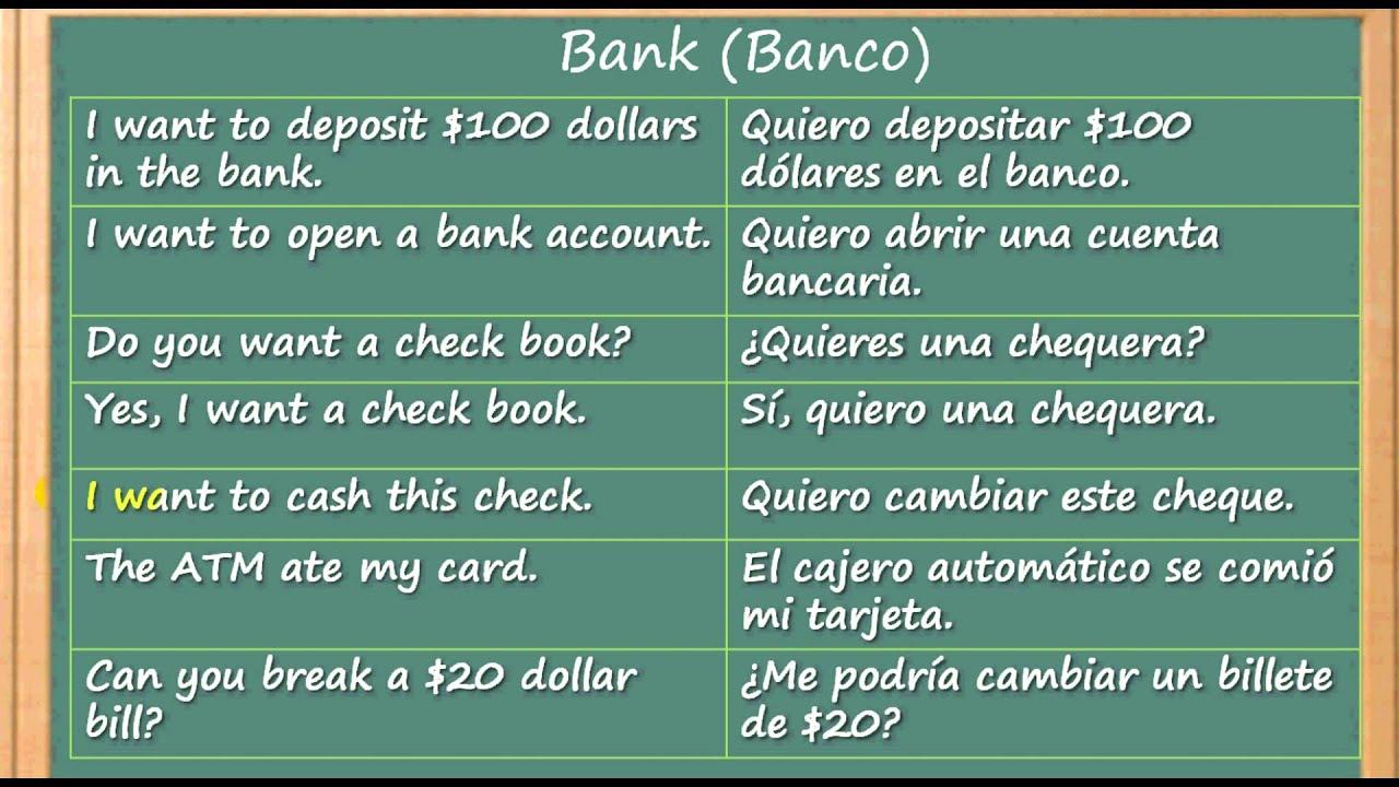 Como Aprender Inglés rapido y facil en el Banco | Learn English at the Bank  - YouTube
