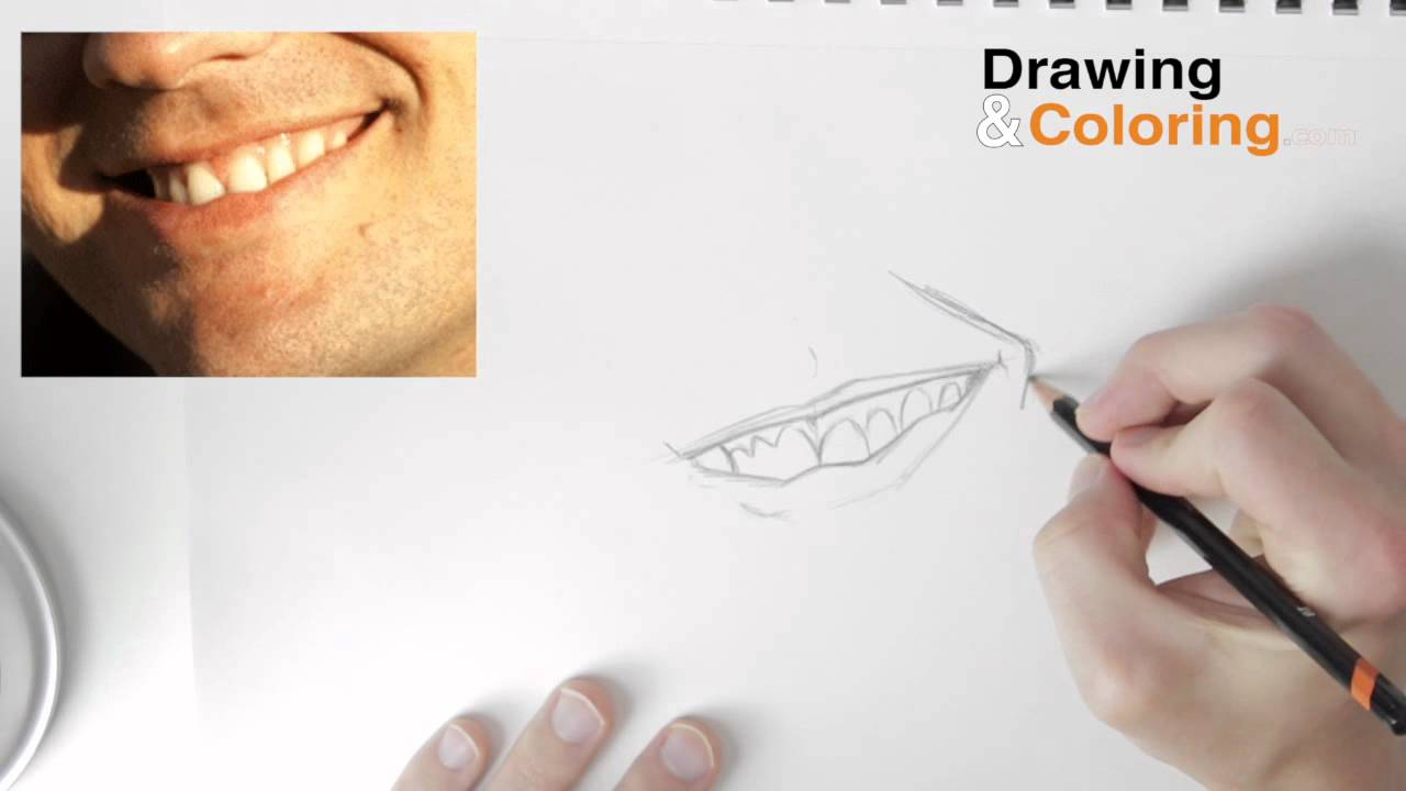 How to draw a smiling mouth teeth step by step youtube fandeluxe Ebook collections