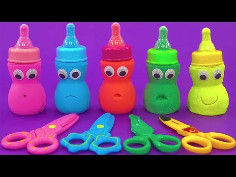 5 Colors Kinetic Sand in Baby Milk Bottle |Learn Colors| Kinder egg,LoL dolls,Food toys