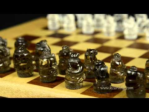 Hand Carved Comical Drunk Vikings Quartz Crystal Chess Set Overview
