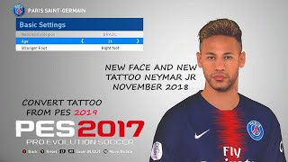 Neymar JR new face and new tattoo added for PES 2017