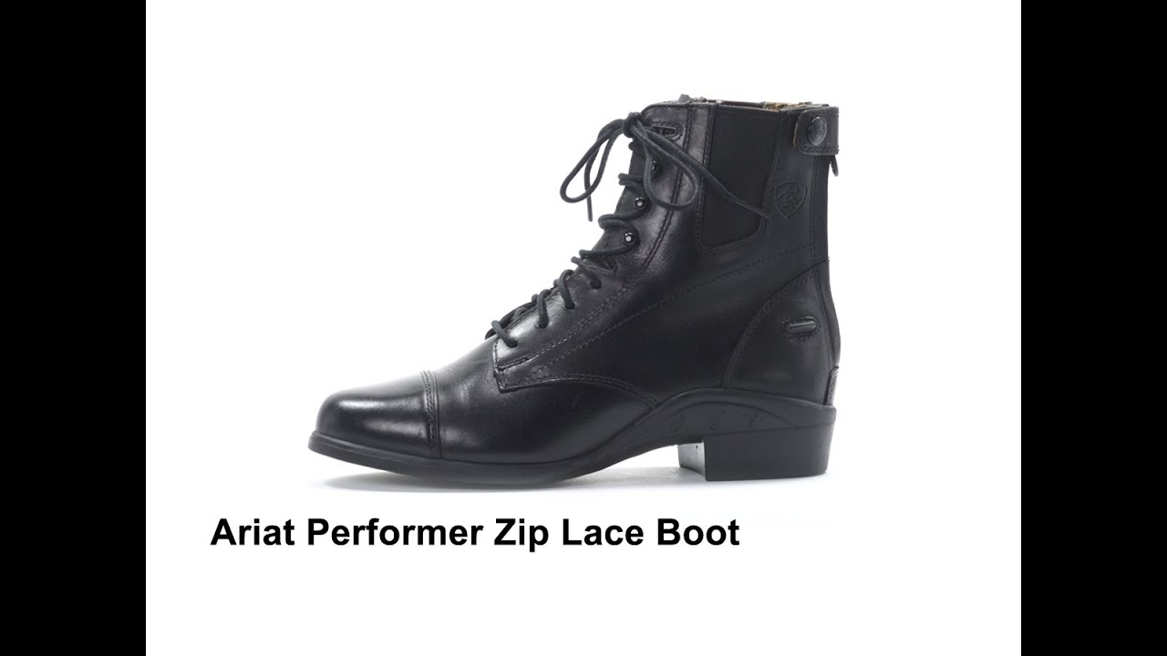 Ariat Performer Zip Lace Boot Black - YouTube