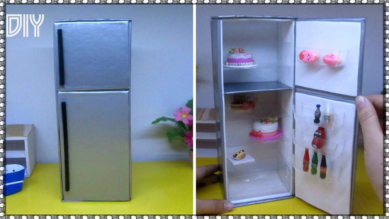 DIY How to Make a Doll Refrigerator / Hướng dẫn làm cái tủ lạnh cho búp bê / Ami DIY