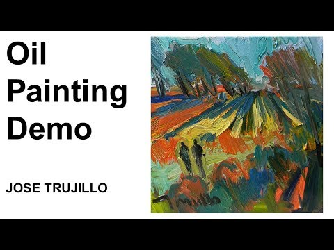 Oil Painting Demo! Loose Brush Landscape Field by Artist JOSE TRUJILLO