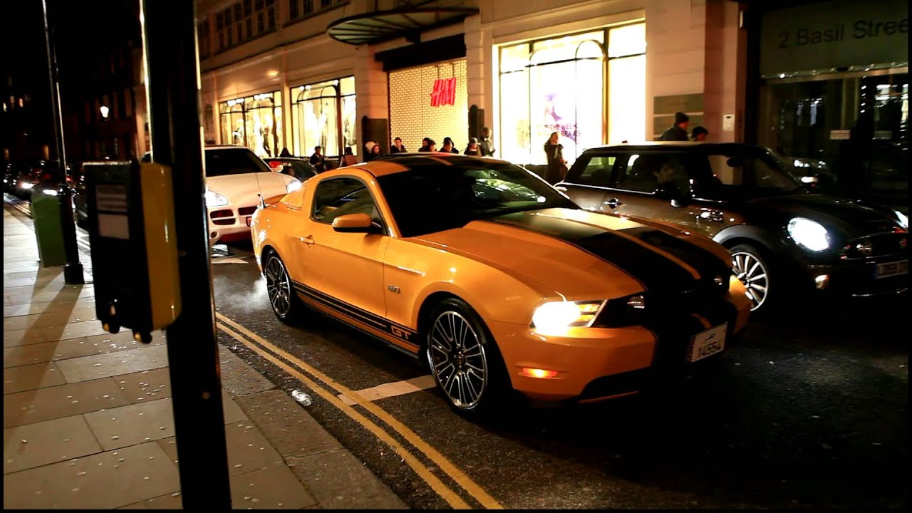 Qatar Yellow Ford Mustang Gt Revving In London