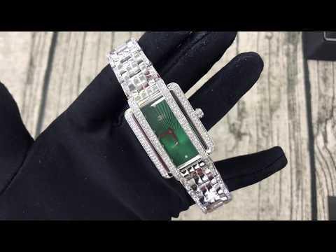 655-908- JBW Women's Rectangular Mink Quartz Diamond & Crystal Accented Green Dial Bracelet