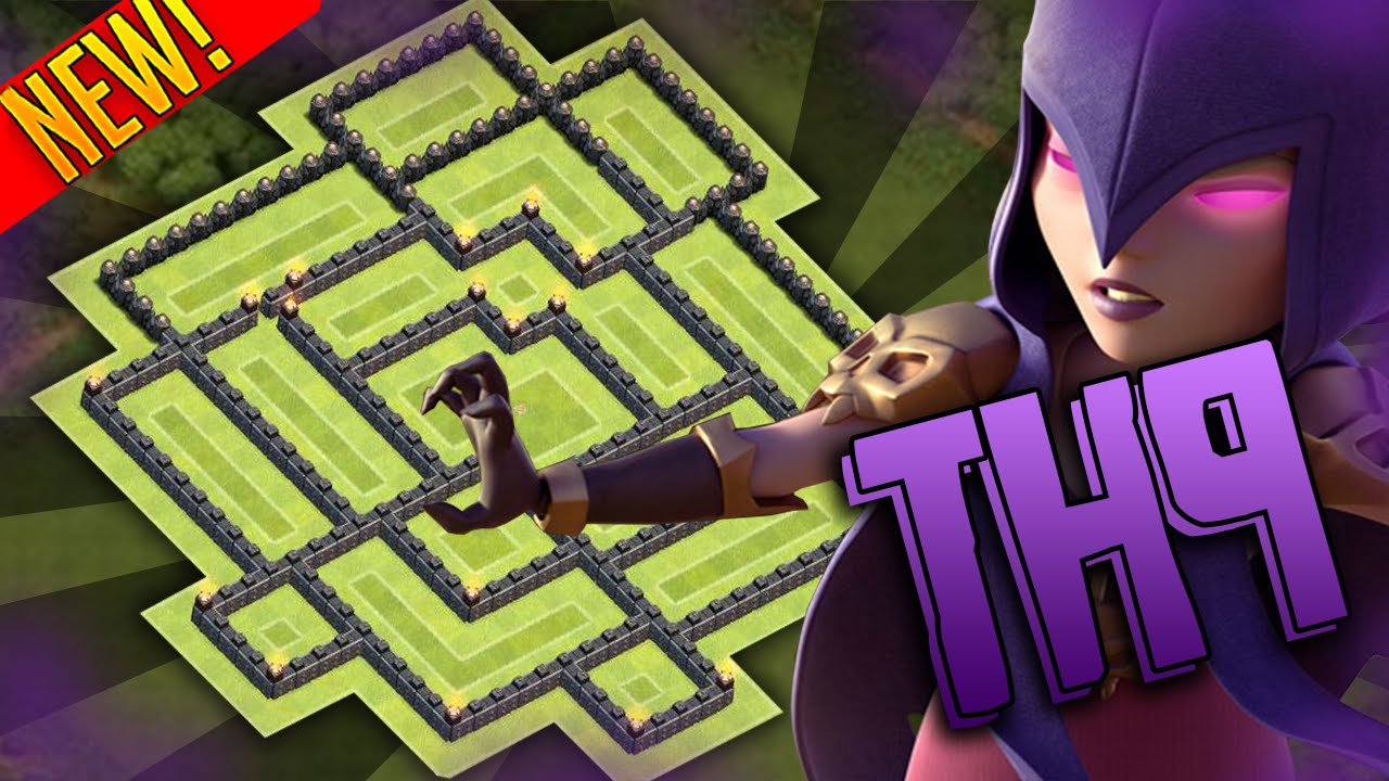 Clash of clans town hall 9 th9 trophy base air sweepers 2015