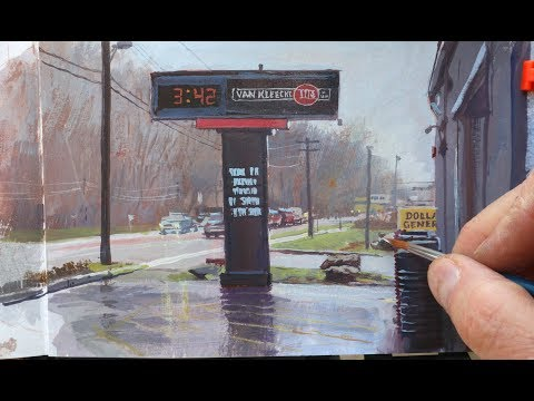 Gouache Painting on a Rainy Day