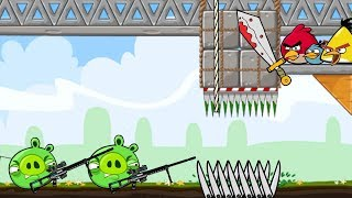 Crush Bad Piggies! - BAD PIGGIES SHOOTING THE 3 ANGRY BIRDS FULL LEVELS!