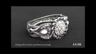 Vintage Silver Flower And Diamante Bangle Thumbnail