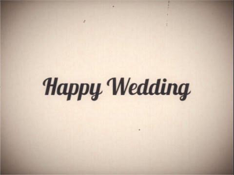 【旧】らぼわん 自作に使える無料素材 昔の映画風レトロ「Happy Wedding」