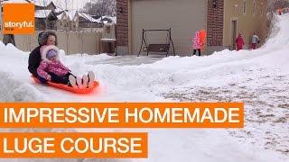 父の本気。裏庭の雪で「超大型ソリコース」を作ってみた