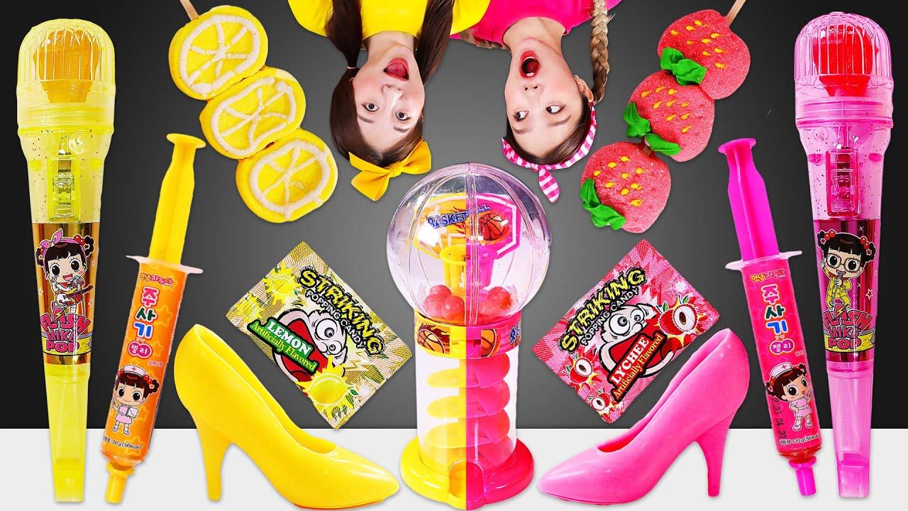 🎀Pink Food VS Yellow Food Mukbang🧀DK와 핑크색 노란색 음식 먹방 JiniYum 지니얌
