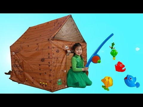 Jannie Pretend Play With Camping Tent & Fishing Toys