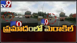Boy miracle escape caught on camera || Bike accident in Bangalore - TV9