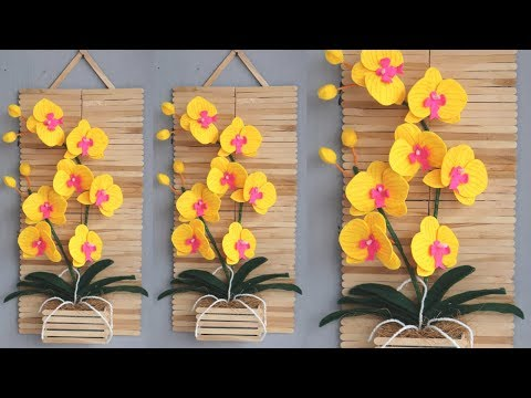 ice cream stick crafts wall hanging | diy home decor wall hanging | Hiasan dinding stik es krim