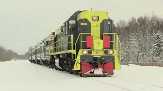 Тепловоз ТЭМ18+дизель-поезд ДР1А+путемер 4 / Locomotive+DMU+track measurement car 4(Тепловоз ТЭМ18-202+дизель-поезд ДР1А-232/242+путемер, на ст. Сытке, Эстония, 08.11.2016 TEM18-202+DR1A-232/242+track measurement car, ..., 2017-02-04T07:42:26.000Z)