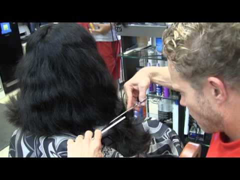 Sexy shoulder length women's long hair haircut / Vertical slide cutting method / Paul Mitchell Travel Video