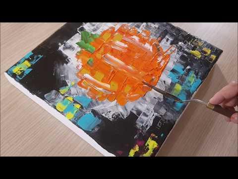 king-art-8.-colori-acrilici/acrilico-astratto/zucca-halloween/-acrilico/quadro-in-acrilico