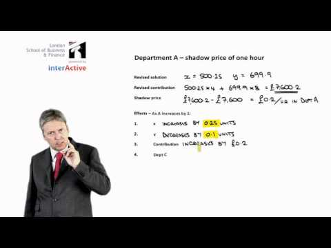 LSBF - ACCA F5: Lecture on Linear Programming -- Shadow Prices