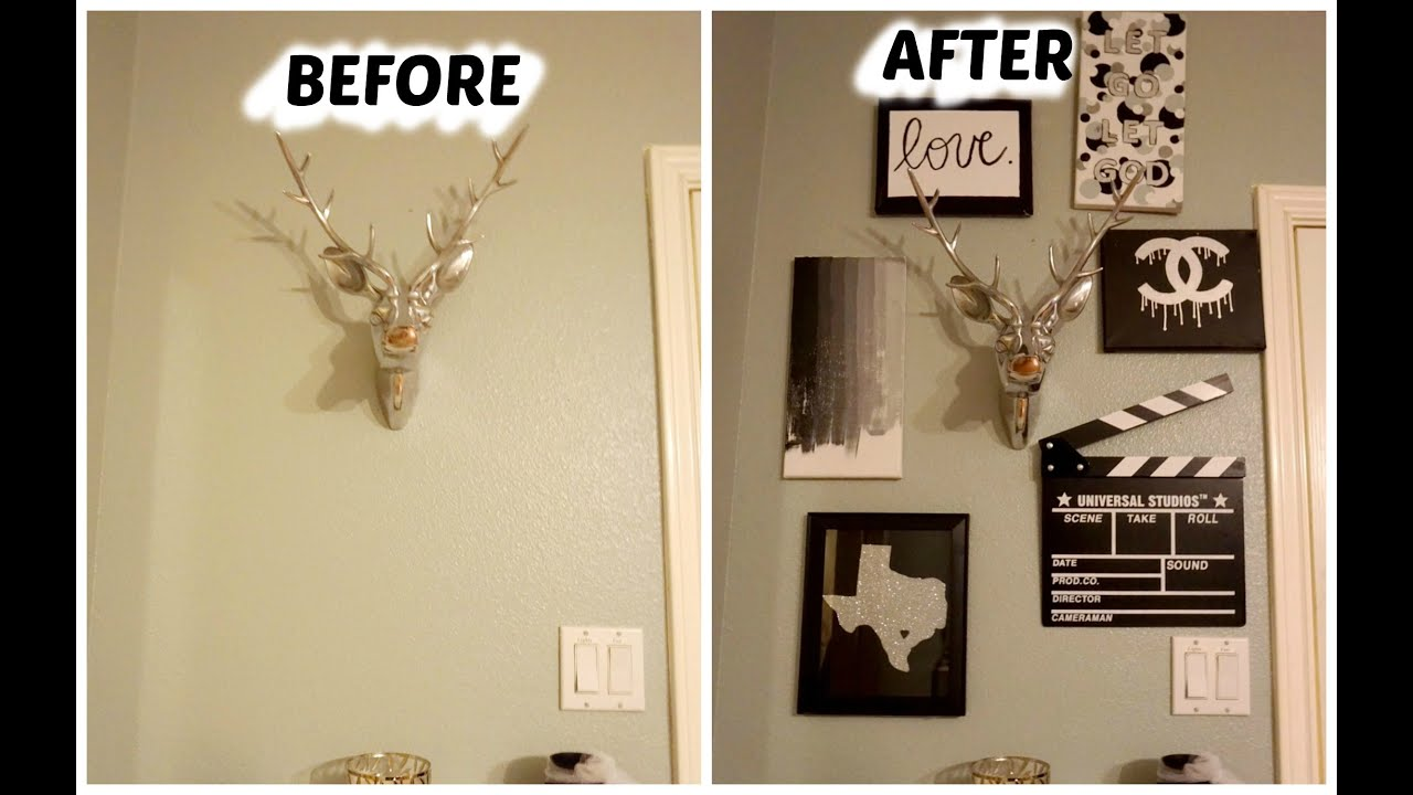 diy pinterest wall decor youtube. Black Bedroom Furniture Sets. Home Design Ideas
