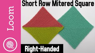 Loom Knit   Short Row Mitered Square - Solid Or 2 Color